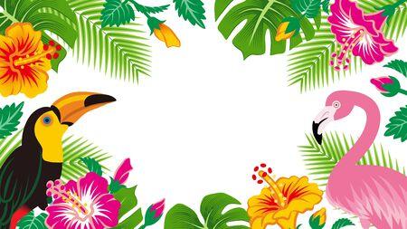 Tropische Vögel und Pflanzenrahmen - Textfreiraum, weißer Hintergrund