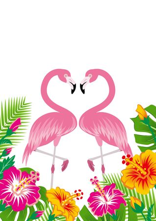 Two flamingos and tropical plants - Copy space, White background  イラスト・ベクター素材