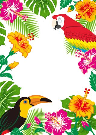 Tropical birds and plants frame - Copy space, White background, Vertical