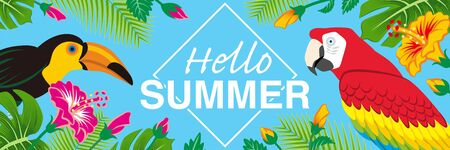 """Tropical birds and plants frame - Included words Hello SUMMER"""", Banner ratio, Sky blue background"""