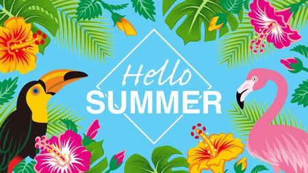 """Tropical birds and plants frame - Included words Hello SUMMER"""", Sky blue background"""