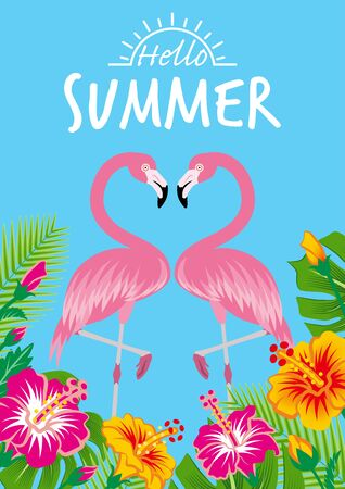 """Two flamingos and tropical plants - Included words Hello SUMMER"""" , Sky blue background"""