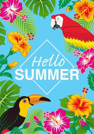 "Tropical birds and plants frame - Included words Hello SUMMER"", Sky blue background, Vertical Ilustração"