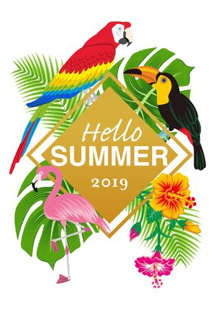 """Tropical birds and plants frame- Included words Hello SUMMER"""""""