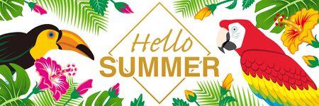 "Tropical birds and plants frame - Included words Hello SUMMER"", Banner ratio, White background Ilustração"