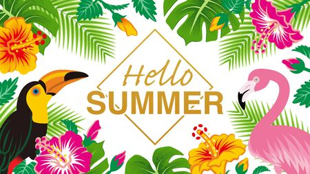 """Tropical birds and plants frame - Included words Hello SUMMER"""", White background"""