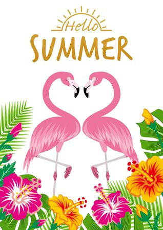 """Two flamingos and tropical plants - Included words Hello SUMMER"""", White background"""