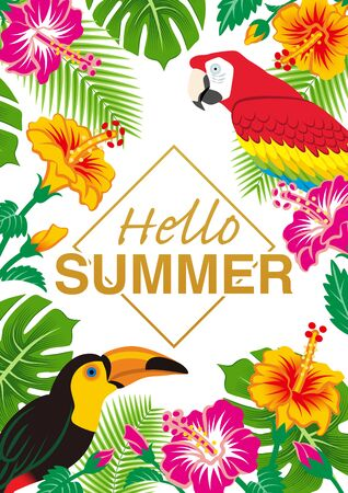 """Tropical birds and plants frame - Included words Hello SUMMER"""" ,White background, Vertical  イラスト・ベクター素材"""