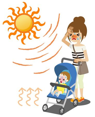 Young mother and baby suffering from heat stroke in summer outdoor Ilustração
