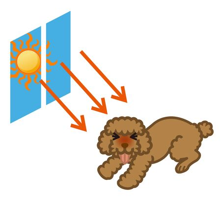 Dog suffering for hot temperature and sunlight - Heat stroke concept art