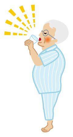Senior man who wears pajamas drinking cup of water for prevent heat stroke Illusztráció
