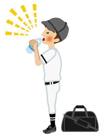 Teenage boy who wears baseball uniform drinking sports drink for prevent heat stroke
