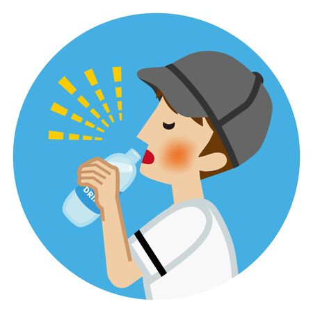 Teenage boy who wears baseball uniform drinking sports drink for prevent heat stroke - circular clipt art Ilustração