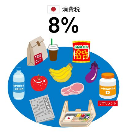 Japanese consumption tax rates,8% icon set -Japanese word means