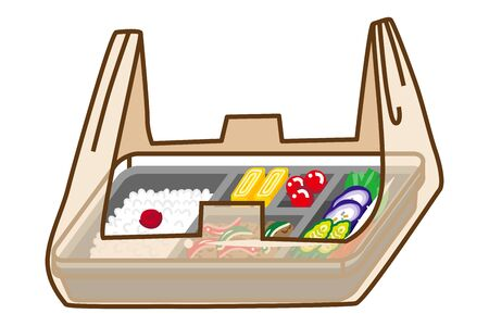 Japanese bento in a Plastic bag ,Line art
