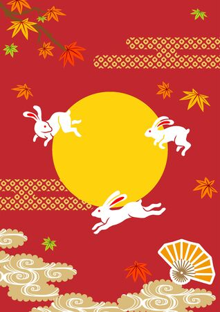 Three leaping rabbits and traditional Japanese autumn decoration, vertical layout - Japanese traditional harvest moon image Ilustração