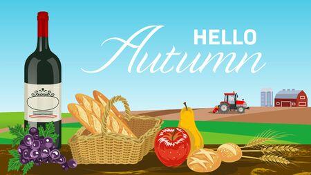 Harvest foods in Autumn farm - included words Hello Autumn