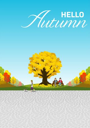 People activity in autumn park - included words Hello Autumn