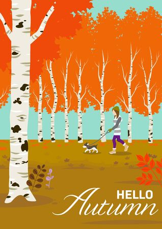Woman strolling in autumn forest with a dog - included words Hello Autumn