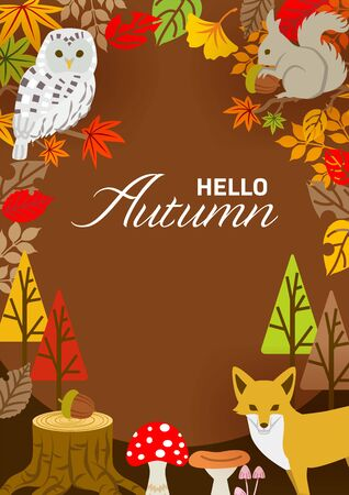 Autumn leaves frame, forest animals and plants - vertical ,included words Hello Autumn