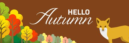 Fox and Autumn forest - included words Hello Autumn