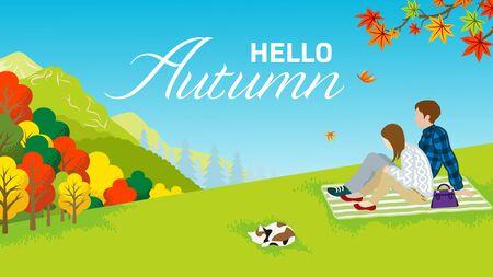 Couple enjoying Autumn nature - included words
