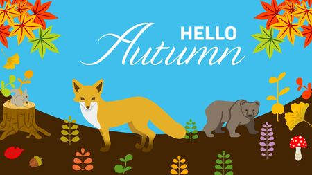 Autumn nature and forest animals - included words Hello Autumn