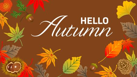 Autumn leaves frame, acorn and chestnut - included words Hello Autumn