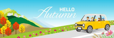 Drive in autumn nature - family, included words Hello Autumn