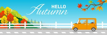 Drive in autumn nature - senior couple, included words Hello Autumn