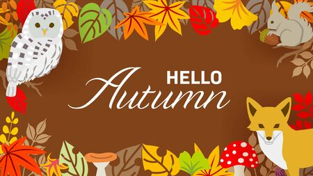 Autumn leaves and forest animals frame - included words Hello Autumn