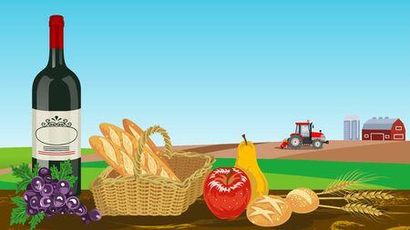 Harvest foods in Autumn farm