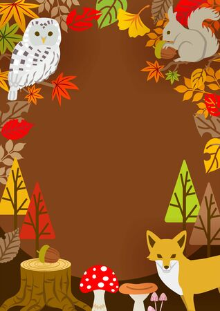 Autumn leaves frame, forest animals and plants - vertical Çizim