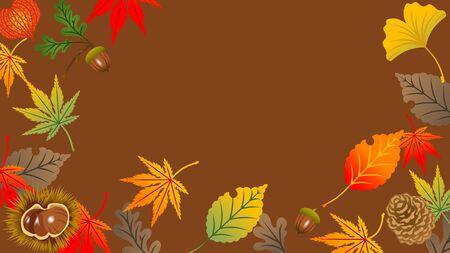 Autumn leaves frame, acorn and chestnut Ilustração