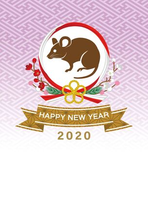 2020 Year of the rat new year card, Rat in the wreath ornament, purple background