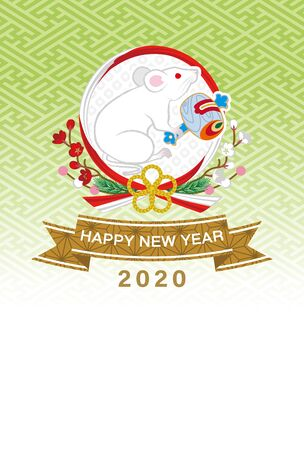 2020 Year of the rat new year card, Rat in the wreath ornament, green color background Çizim