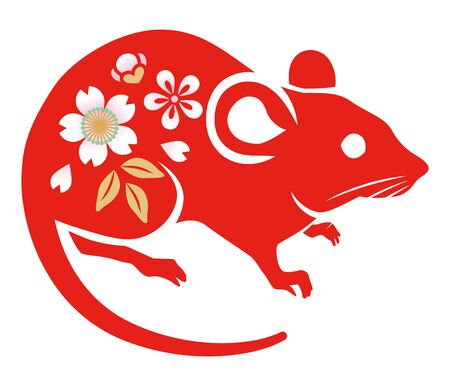 Floral patterned rat ,Red color - clip art for Year of the rat