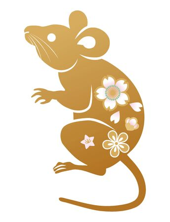 Floral patterned crouching rat ,Gold color - clip art for Year of the rat