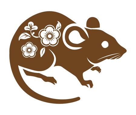 Floral patterned rat ,brown color - clip art for Year of the rat Çizim