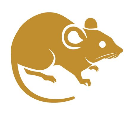 Simple rat icon ,golden color - clip art for Year of the rat Çizim