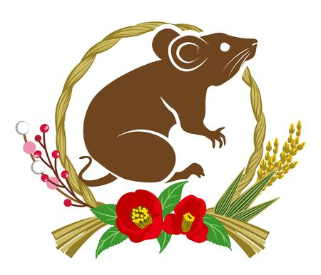 Rat and wreath decoration clip art for Year of the rat Çizim