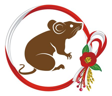 Rat with camellia decoration clip art for Year of the rat Foto de archivo - 131053522