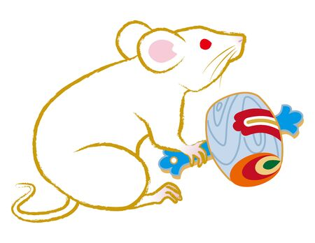 White rat holding a lucky mallet clip art for Year of the rat
