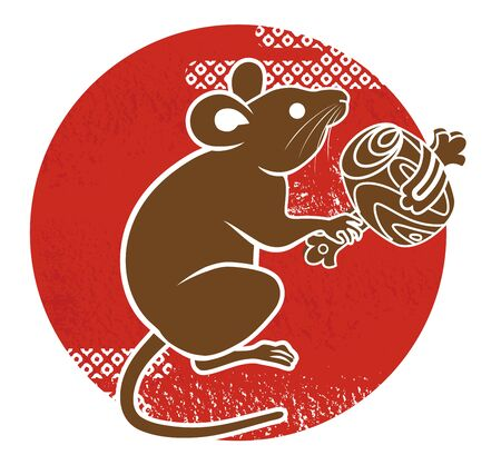 Rat holding a lucky mallet with Red circle, clip art for Year of the rat