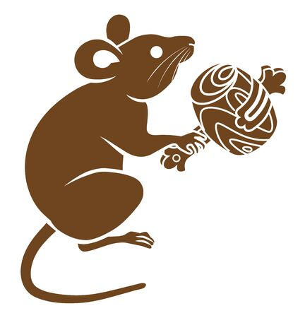 Rat holding a lucky mallet , icon for Year of the rat