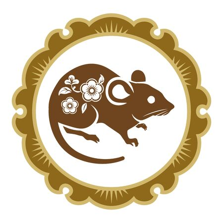 Floral patterned Rat with Traditional circular frame, clip art for Year of the rat Çizim