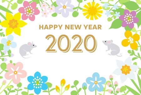New year greeting card 2020, Two rats surrounded by wildflowers frame