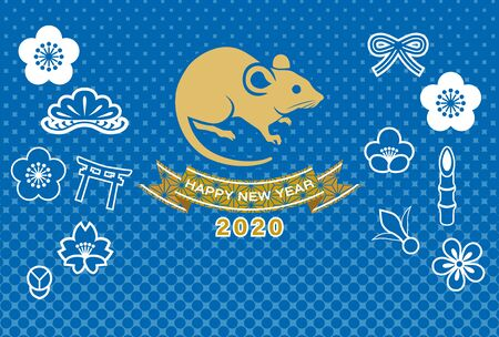 Japanese New year card 2020, Rat and good luck charm icons in blue dots background