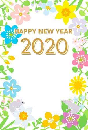 New year greeting card 2020, Two rats surrounded by wildflowers frame - Vertical Çizim