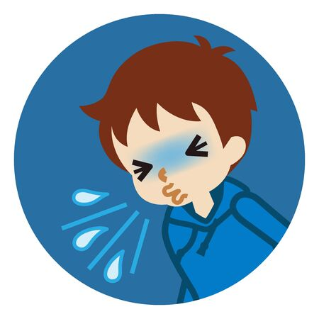 Toddler boy suffering from sneeze - flu symptom clip art, circular icon